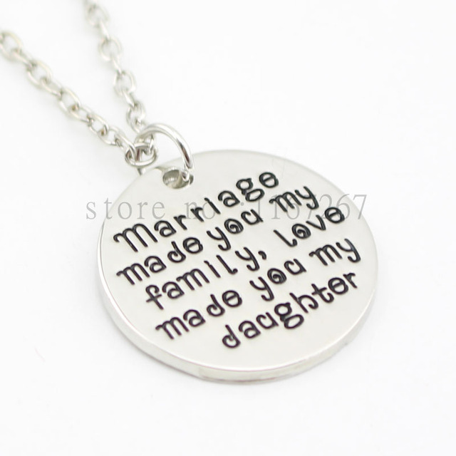 "2016 new arrive Personalised Gift for Daughter in Law""Marriage Made You My Family Love Made You My Daughter""Handstamped necklace"