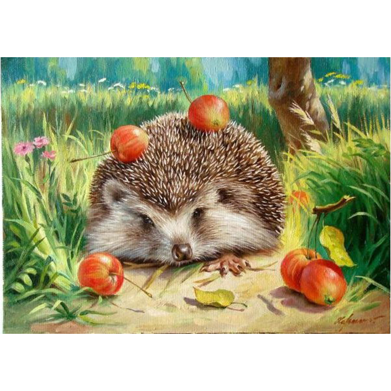 Frameless Hedgehog Dyr DIY Maleri Med Numbers Kits Akrylmaling Med Tallene Tegning Lerret Maleri Til Home Wall Art Decor