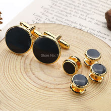 High Quality Black Enamel Round Cufflinks and tuxedo studs Sets Gold Color Plated Mens Jewelry Business wedding cuff links