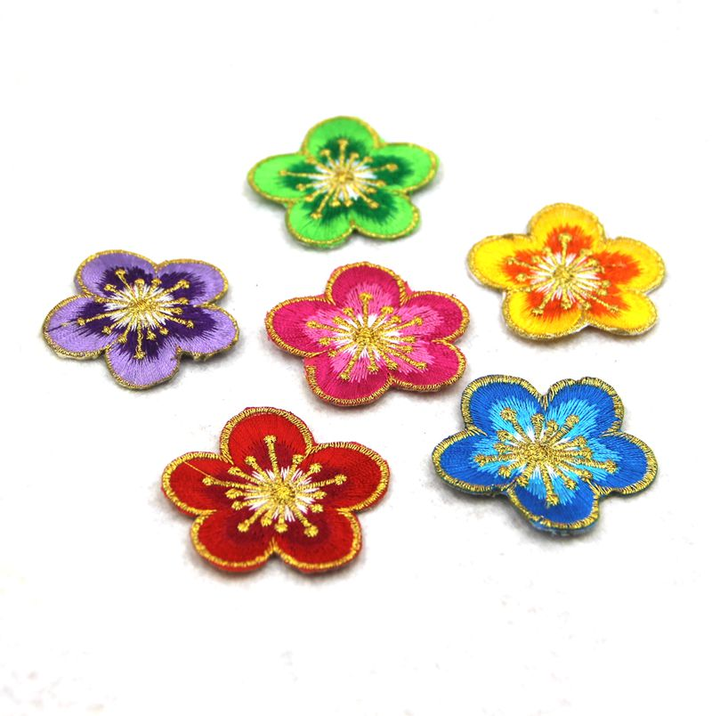 P blue green pink red flowers embroidered patches for