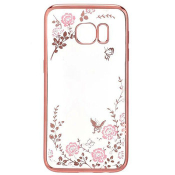 Luxury For Sumsung Galaxy S7 S7edge Electroplate Soft TPU Secret Garden Floral Bling Diamond phone back Cover case