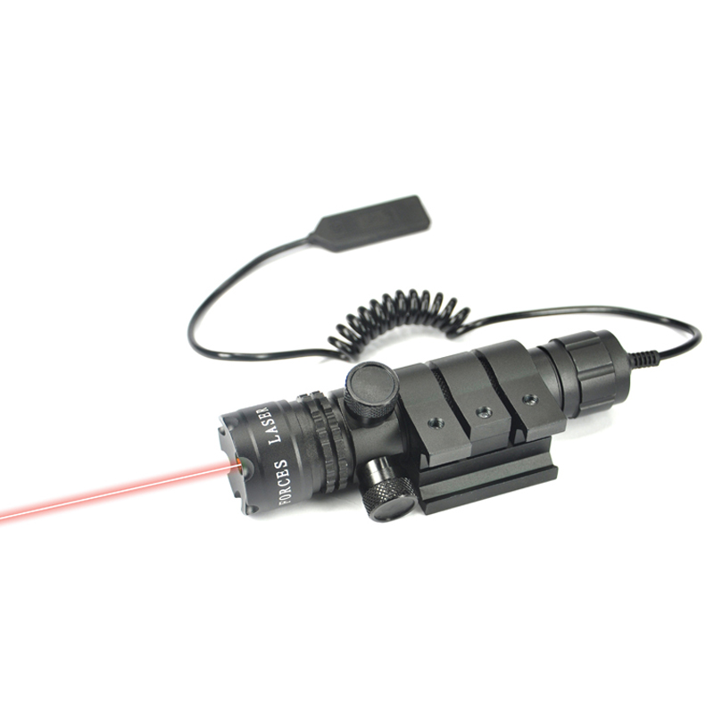 Adjustable Self lock Function 650nm Red Dot Laser Sight Rifle Gun Scope & Rail & Barrel Mount Cap Pressure Switch