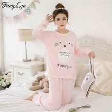 FL071C  Lovely Flannel Velvet Pajamas Pyjamas Women Pijama Mujer Kigurumi Pigiama Pyjama Femme Sleepwear Invierno
