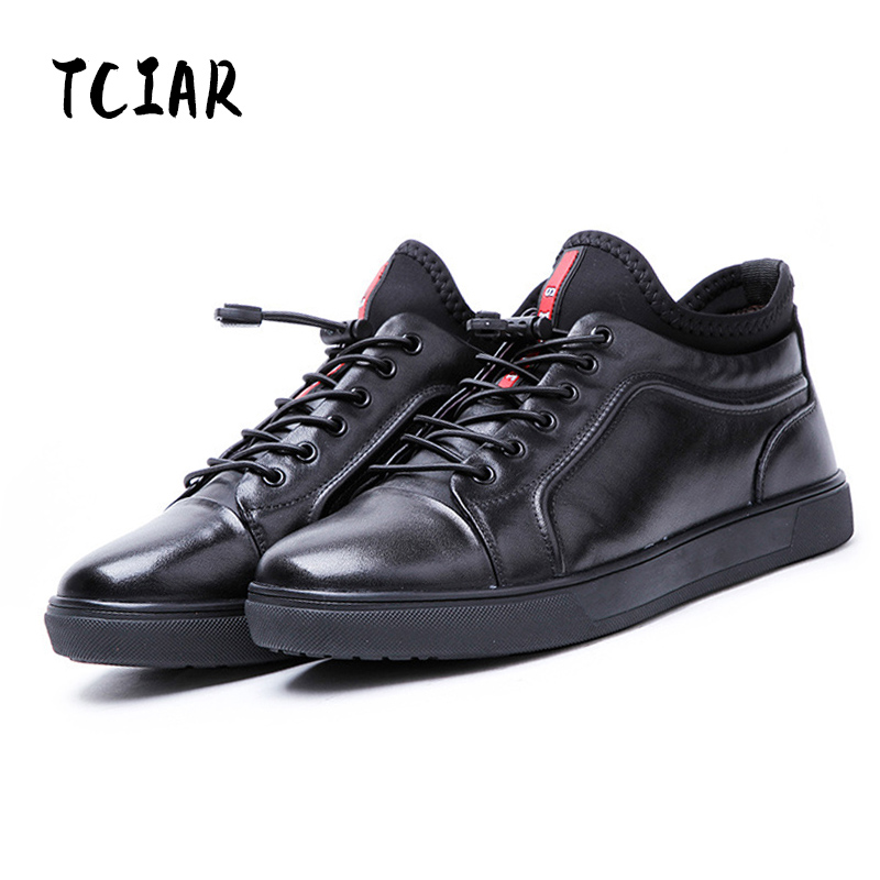 TCIAR Brand 2017 Winter New Arrival Genuine Leather Mens Casual Sneakers Brushed Plus Velvet Warm Shoes Black 38-43 D161915 2016 winter new soft bottom solid color baby shoes for little boys and girls plus velvet warm baby toddler shoes free shipping