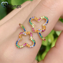 Adjustable Rings, Women Fashion Jewelry, CZ Setting, The Rainbow Series,Double Hollow Bowknot Design, Gold Color Plated,5pcs