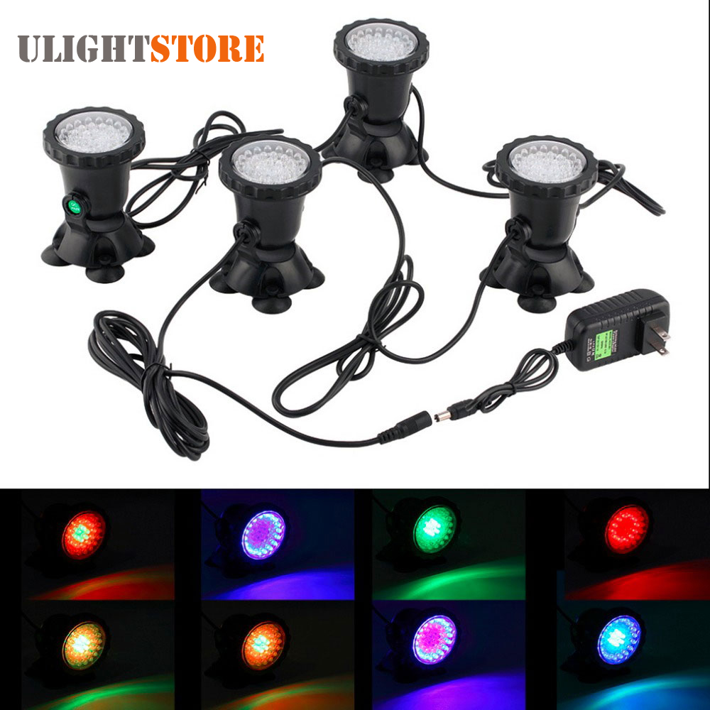 4pcs Waterproof Underwater Light 7 Color Changing Garden Fountain Fish Tank Swimming Pool Pond Aquarium LED