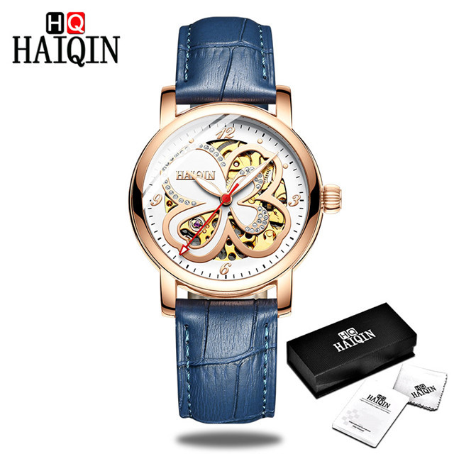 HAIQIN 2019 women's mechanical watches top brand luxury Ladies dress wrist watch Fashion Genuine leather strap relogio feminino | Fotoflaco.net