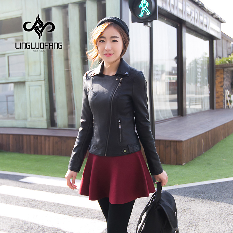 Autumn Biker   Leather   Jacket Women Short PU Faux   Leather   Long Sleeve Slim Fashion Coat Black Motorcycle Jackets LF1088