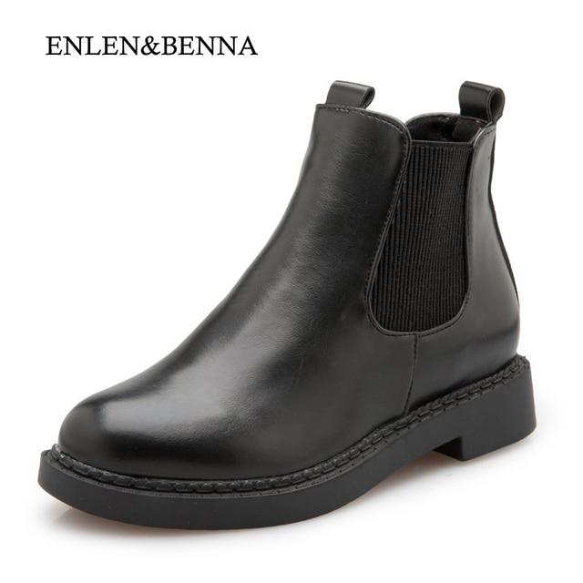 56b00036eaf ENLEN y BENNA Nuevo Invierno Tacón Cuadrado Botas Chelsea Botines Moda  Mujeres Zapatos Térmicos Botas de