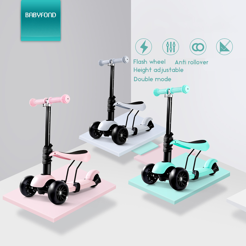 KUB 3 Wheel Scooter Can Take Children Aged 1-3-6 Three In One Slide Block Flash Baby Pedal Car Yo