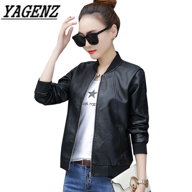2018 Autumn Winter Women Pu   leather   Jacket Black Slim Cool Outerwear High-grade Large size Female Short Faux   Leather   Jacket 4XL