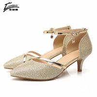 2017 Sexy Shoes Woman High Heel Gold Silver Pumps High Heels Women Shoes Luxury Rhinestones Wedding