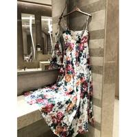 2019 Summer Long Dress Linen Floral Print Bohemian Beach Dress Sexy Tube Top Women's Dress