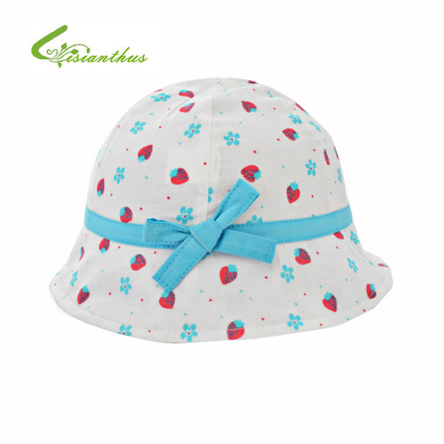 69bdd1f5916 Kids Summer Hat Outdoor Bucket Style Strawberry Printing Bowknot Beach  Princess Sun Hat Accessories Girls Children Panama Cap