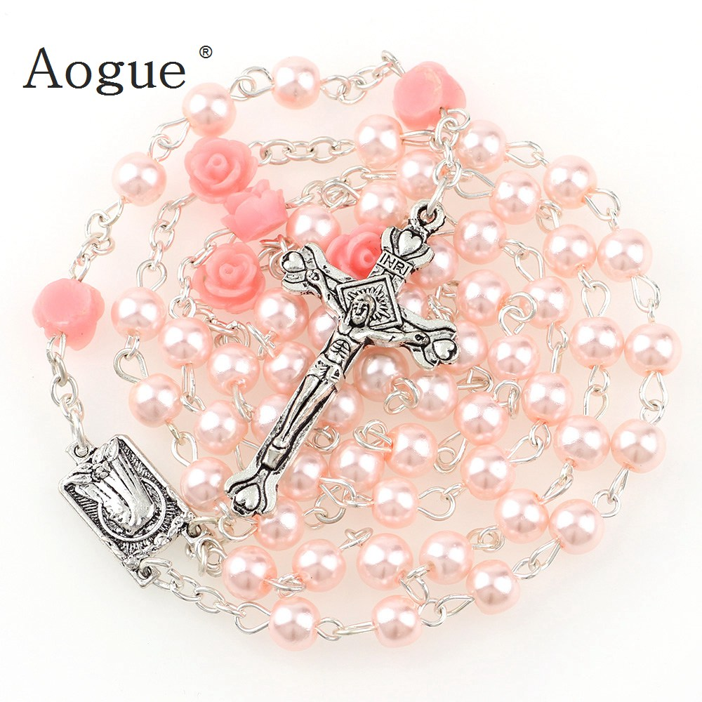 6mm Glass Imitation Pearl Bead Holy Rosaries Necklace With Rose Flower Silver Cross Lourdes Center Rosary(China)