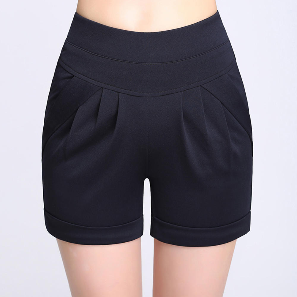 Women Summer   Shorts   New Plus size   Short   Pleated Pocket Stretch Wide Leg   Shorts   Casual Loose Ladies High Waist   Short   Pantalones