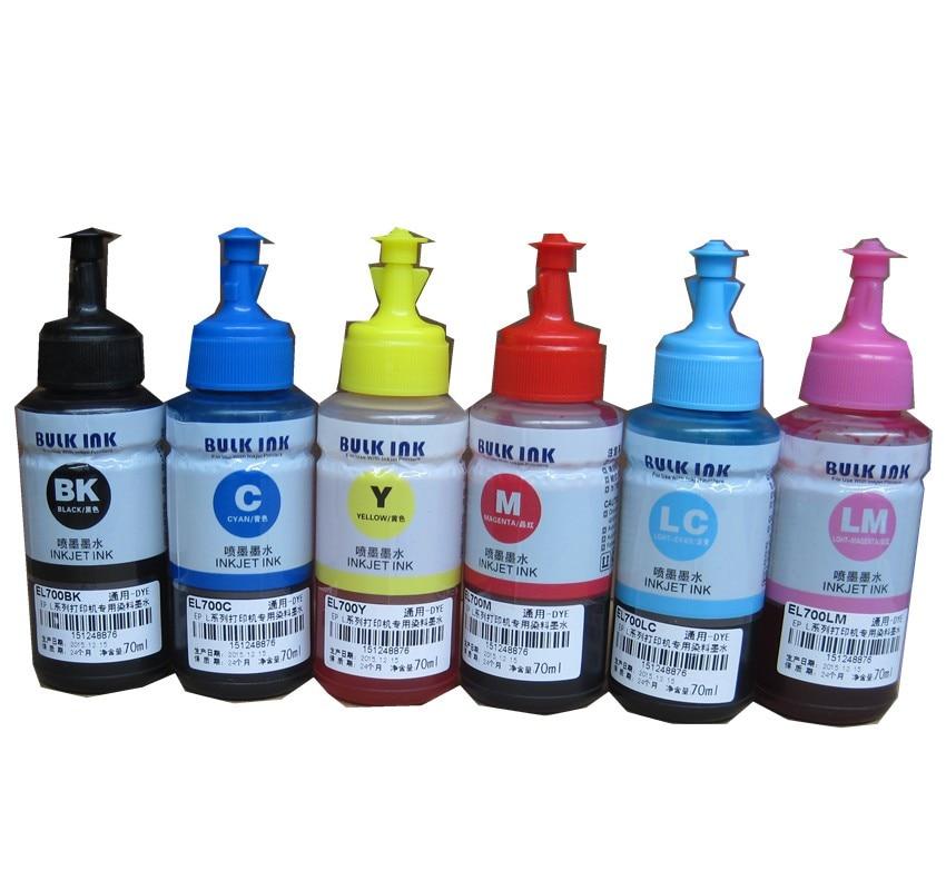 6 Color Dye Ink For Epson 70ml Oem Refill Ink Kit 70ml