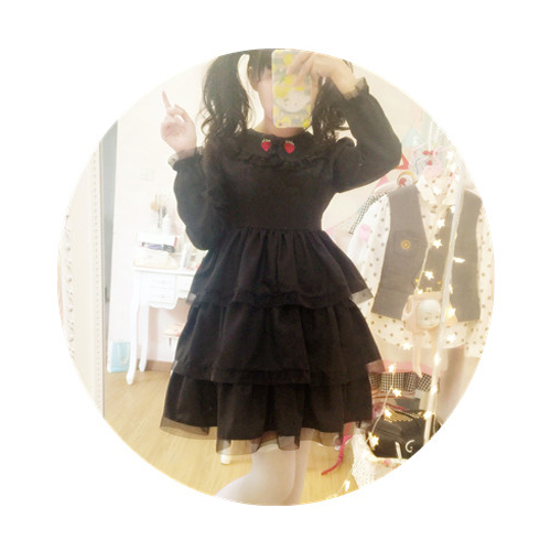 Robe lolita palace princesse col claudine fraise broderie robe victorienne kawaii fille robe gothique lolita op cos loli - 5