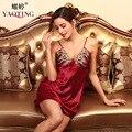 red nightdress womens sexy lace sleepshirt woman summer night dress female silk sleepwear satin nightgown femme slip nightwear
