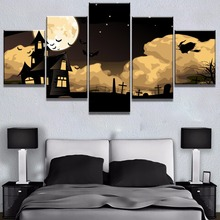 5 Piece Canvas Art Halloween Witch Bat Castle Modern Decorative Paintings on Wall for Home Decorations Decor