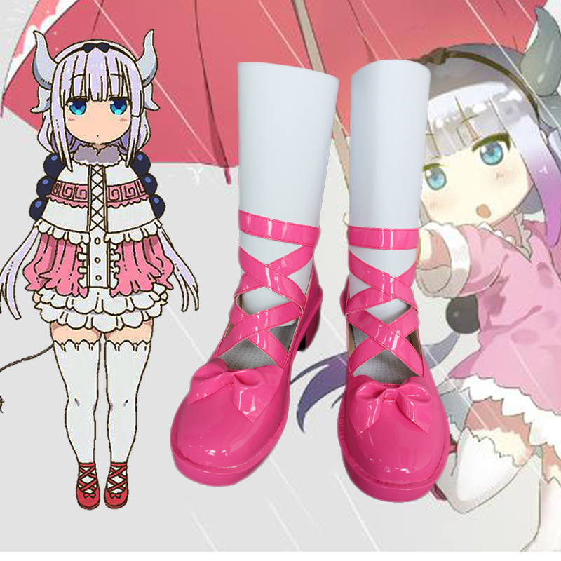 Japanese Kobayashi-san Chi no Maid Dragon Kanna Pink shoes Comic Con Kanna Cosplay pink Girl Lolita shoes large size