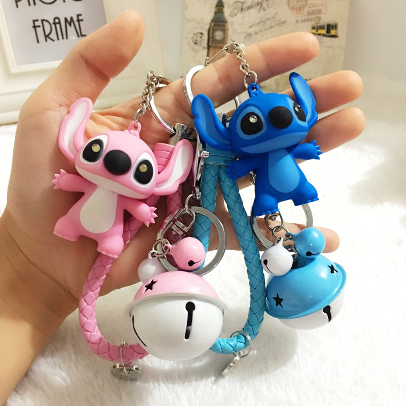 2018 Newest Lilo and Stitch Figure Beautiful Sound Flash Stitch Keychain Leather Rope Bell Car Bag Key Rings Birthday Gifts