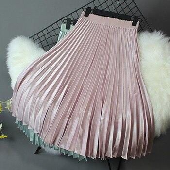 2019 Women Skirt Casual Autumn Winter Metallic Satin Pleated Skirt Female Vintage Mid Calf Black White Skirt Streetwear L 5