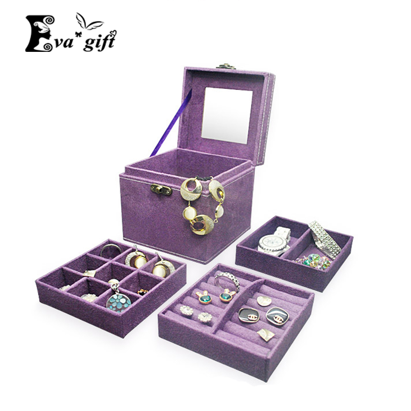 Small Portable Jewelry Box With Retro Handle Cosmetic