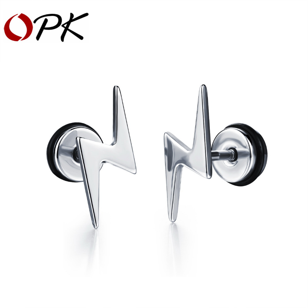 OPK Lightning Design Man Stud Earrings Personality 2 Colors 316L