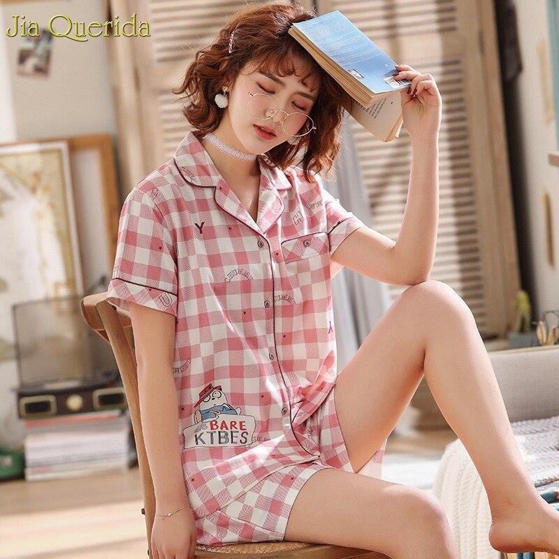 409460dfc829 Rosa cuadros Pijamas Mujer 2019 nueva moda de chica ropa de casa ropa 100%  algodón de verano corto ...