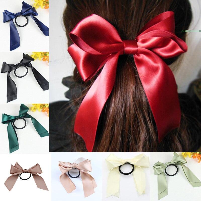 Sale Girl Elastic Hair Bands Large Bowknot Hair Ties Ribbon Bow Hair Rope Elastic Women Headwear Hair Accessories