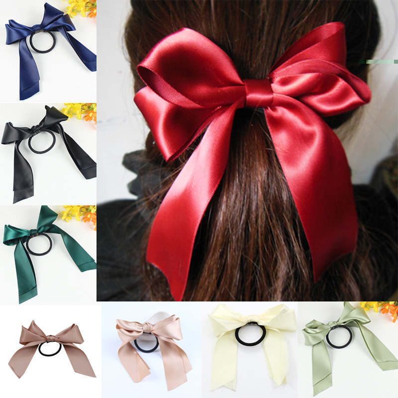 Sale Girl Elastic Hair Bands Large Bowknot Hair Ties Ribbon Bow Hair Rope Elastic Women   Headwear   Hair Accessories
