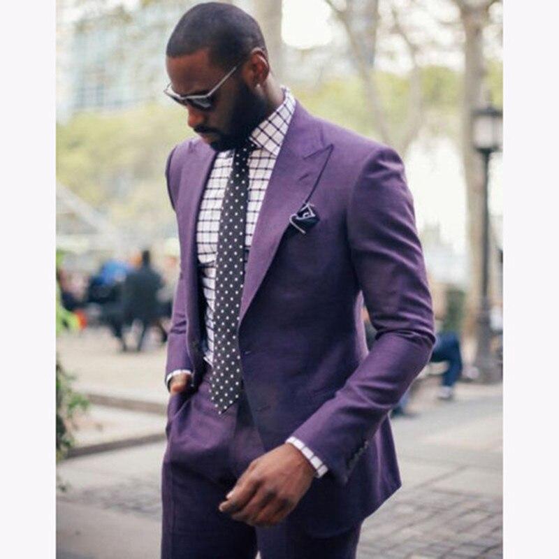 Purple Peaked Lapel Two Buttons Men Wedding Suits 2 Pieces Custome Homme Blazer Terno Slim Fit Smoking Mens Suit (Jackets+Pants)