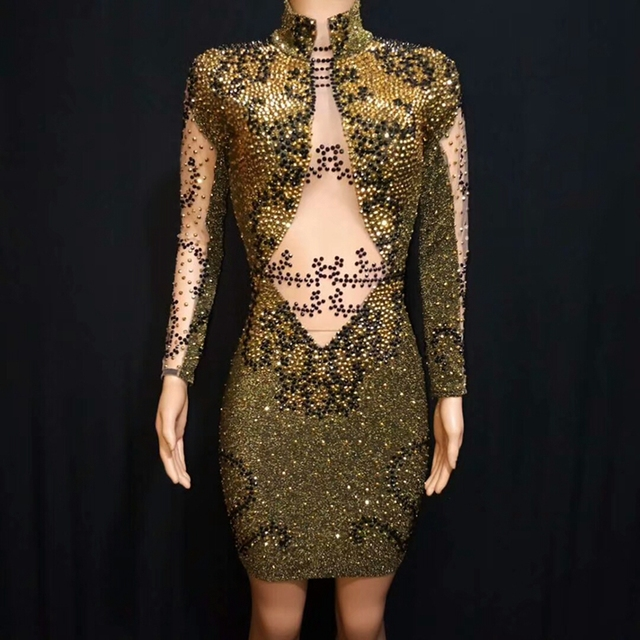 2019 Shining Gold Rhinestones Stretch Women's Evening Wear Black Stones Bodysuit Costume Prom Celebrate Dance Outfit