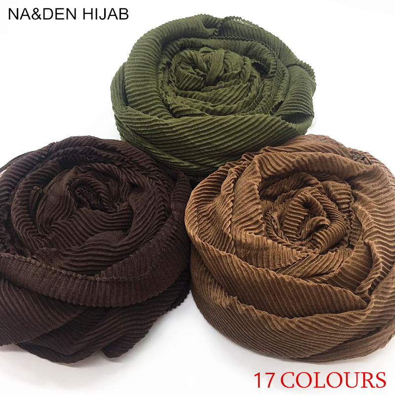 2018 NEW pleated maxi hijabs scarf elegant shawl plain maxi muslim hijab women wrinkle scarves shawls soft muffler 17 colors