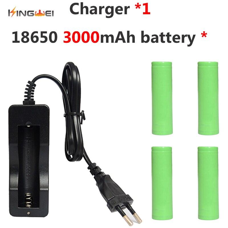 4 pièces kingwei 3000 mah D'origine Pour Samsung 18650 Li-ion Batterie L'IC 18650-RB + 1 pièces 18650 Chargeur simple pour Lampe de Poche batterie externe