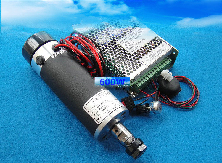600W 13000RPM Air-cooled DC Spindle Motor + Power Supply support for Mach3 system + 57mm clamp For DIY CNC Machine SA028A 4pcs 12v 1a cctv system power dc switch power supply adapter for cctv system