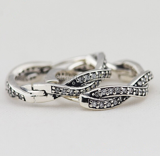 Pave Clear CZ Braided Hoop Earrings Authentic 925 Sterling Silver Clip Ear Earrings For Women Brand Mother's Day Jewelry 2015