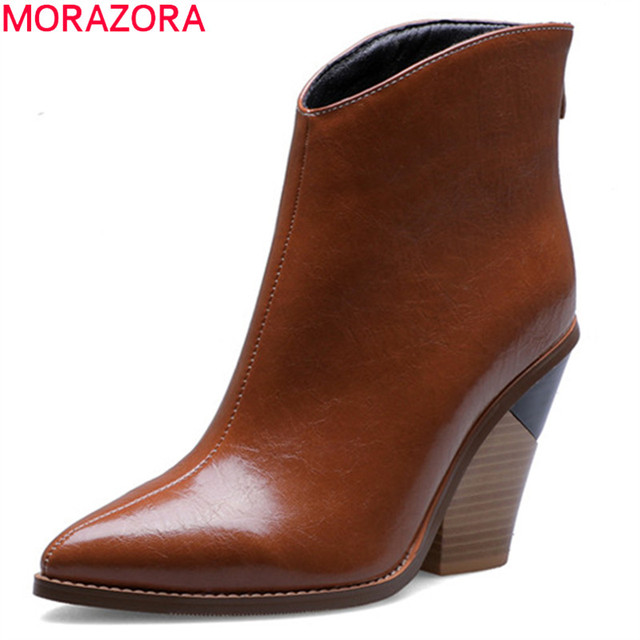MORAZORA 2020 big size 44 women ankle boots pointed toe Snake zip high heels boots fashion autumn dress party shoes woman