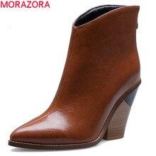 Morazora 2020 Size Lớn 44 Nữ Mắt Cá Chân Giày Mũi Nhọn Loài Rắn Khóa Kéo Giày Cao Gót Giày Bốt Thời Trang Áo Thu Đảng Giày người Phụ Nữ