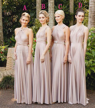 2015 Elegant Halter Bridesmaid Dresses Backless Sashes Pleat Chiffon A Line Floor-Length Custom Made Robe Demoiselle D'honneur