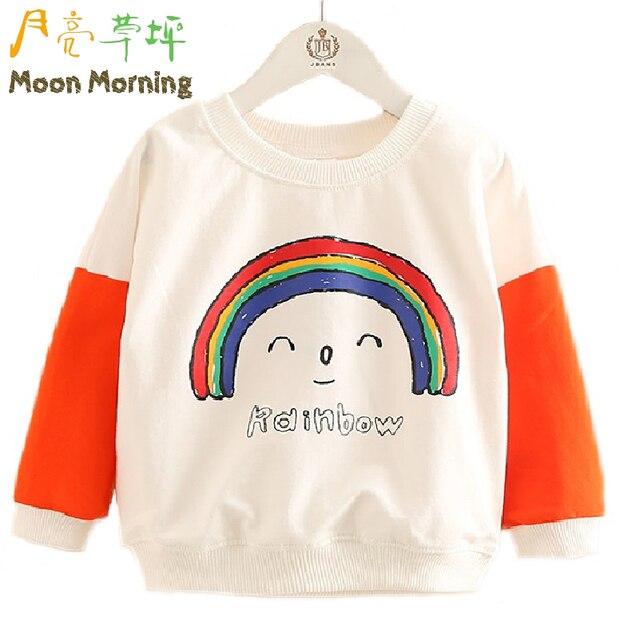 Moon Morning Дети Кофты 2 Т ~ 10 Т С Длинным Рукавом Радуга Печати Лицо Улыбка Детская Одежда Мода Новый Регулярный Clothing
