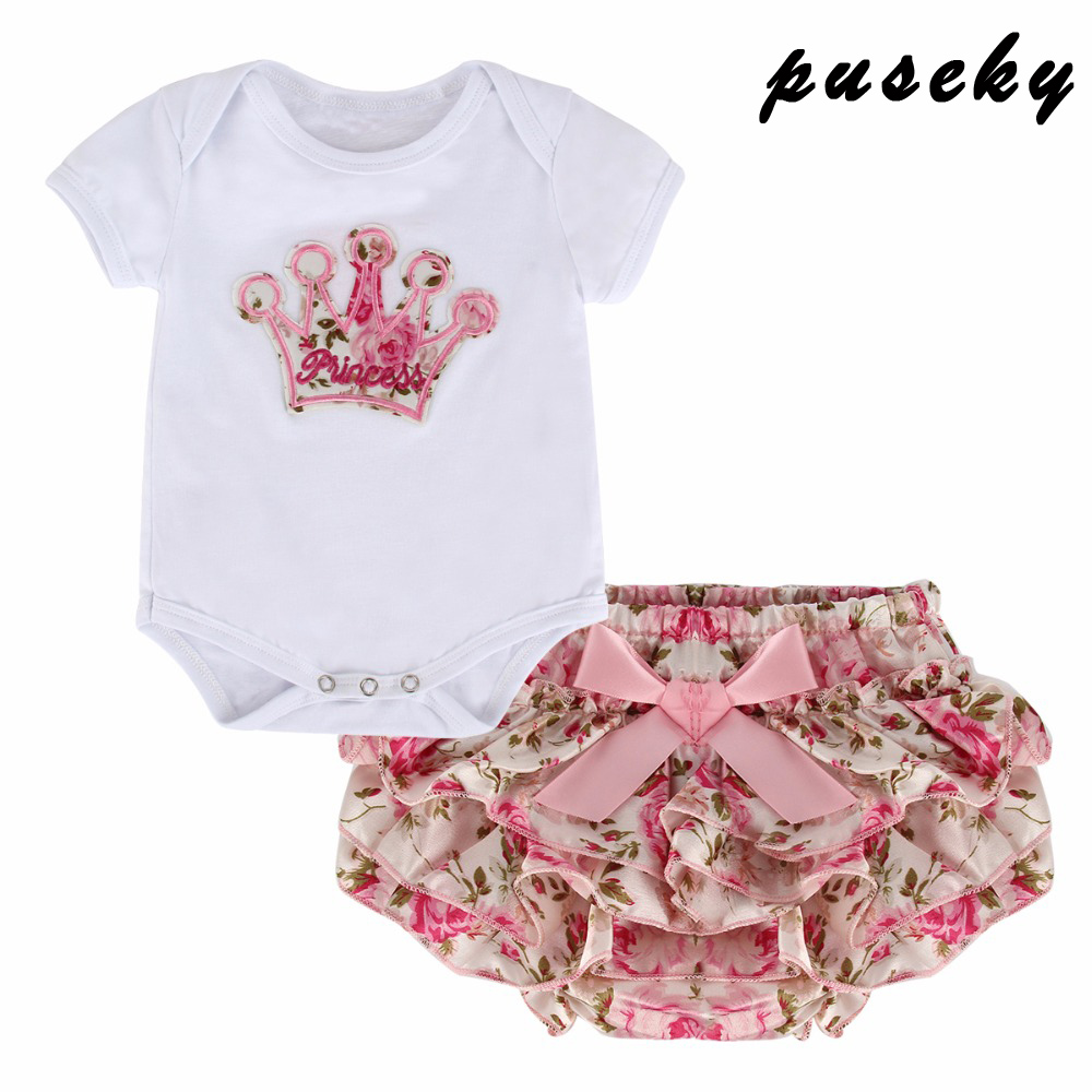 Puseky 2PCS Crown Βρεφικά βρεφικά κορίτσια Ρούχα για κορίτσια Κορμάκι Σύντομο καλοκαίρι Νεογέννητο Ρούχα για κορίτσια Κοστούμι Bebe Κοστούμια Πρώτα γενέθλια