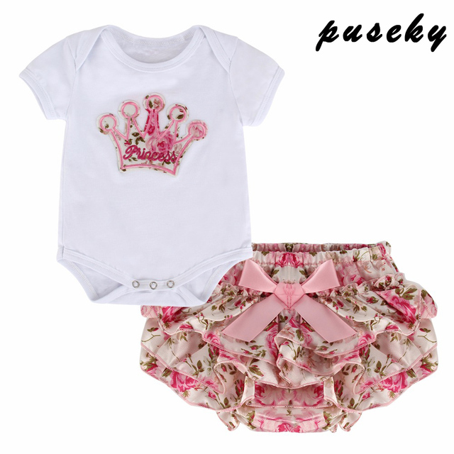fd94304ac Puseky 2PCS Crown Infant Baby Girl Clothing Set Bodysuit Short ...