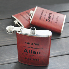 Personalized Engraved Flask,  Leather hip flask, Stainless Steel, Groomsman gift, Wedding Party Gift