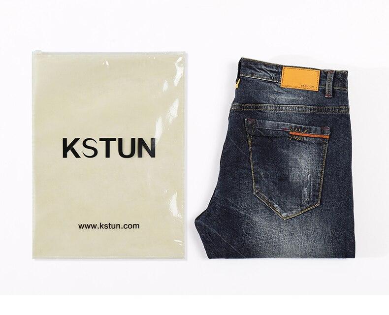 KSTUN Mens Jeans Brand Dark Blue Spring and Autumn Slim Straight Stretch Business Casaul Man Denim Pants Cowboys Plus Size 40 20