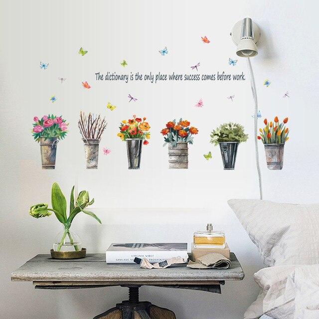 DIY Vaso Vaso di Fiori Farfalla Wall Stickers Cucina Finestra di ...