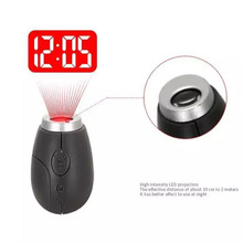 Portable Digital Time Projection Clock Mini LED Watch Night Light Projector Flashlight With Hanging Rope E2S