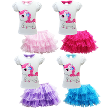 Fashion Teen Kids Pretty Little Girl Baby Unicorn Dress Summer Short Sleeve Mesh Tulle Princess Party Wedding Tutu