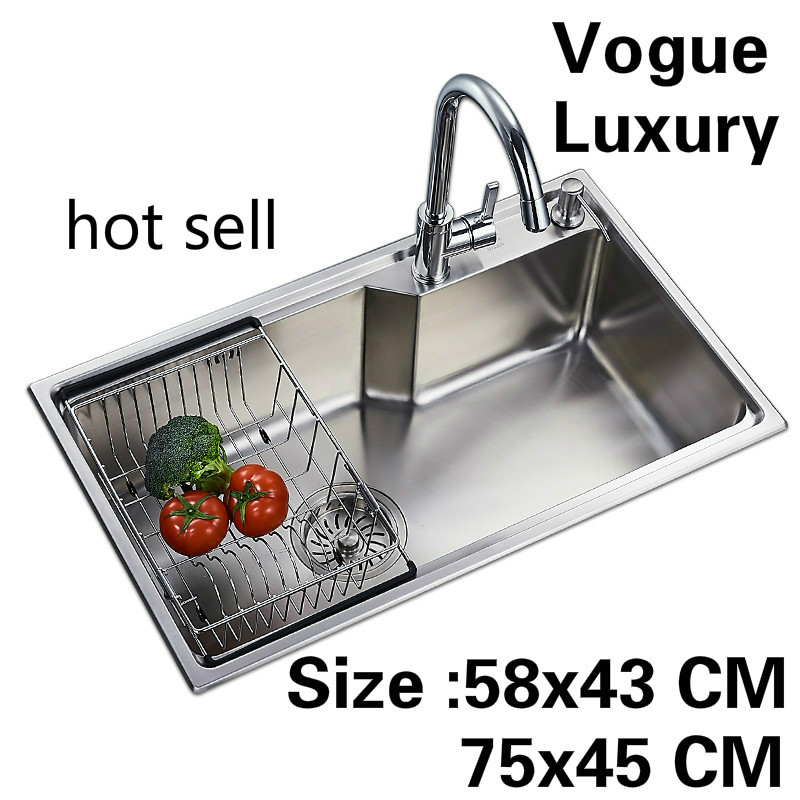 Free Shipping Apartment Vogue Wash Vegetables Large Kitchen Single Trough Sink Luxury 304 Stainless Steel 58x43/75x45 CM